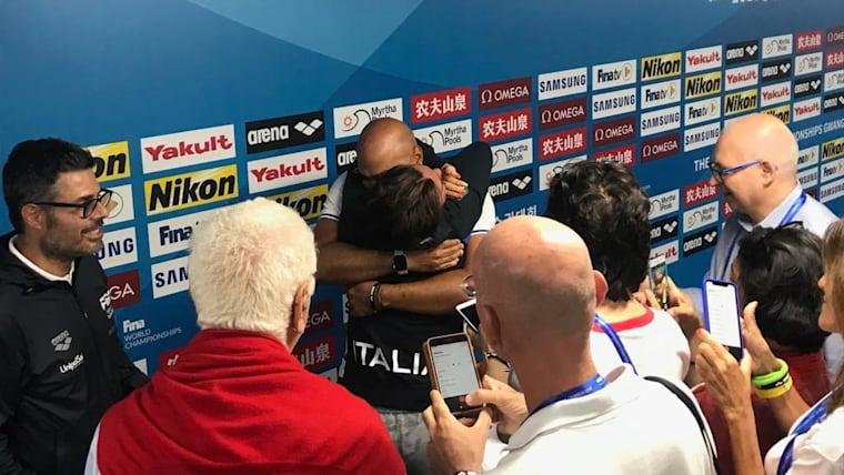 Simona Quadarella is overcome with joy after winning the 1500m