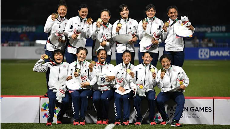 女子日本代表の「サクラセブンズ」は2018年のアジア競技大会で金メダルを獲得。決勝戦では中国に7−5で競り勝ってみせた