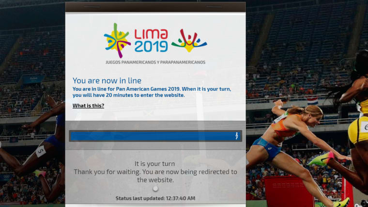 The official Lima 2019 site struggles to contain the demand for tickets on the night before Day 1 and the Opening Ceremony at the Pan American Games 2019 in Lima.