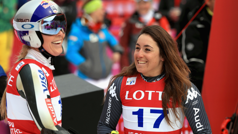 Lindsey Vonn and Sofia Goggia after competing in the Jeongseon Super G in March 2017