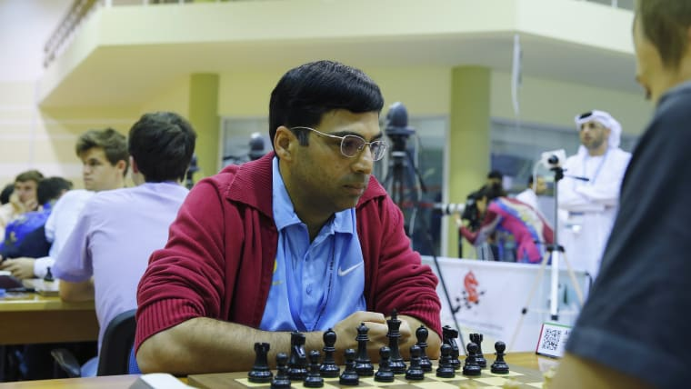 Indian chess player Vishwanathan Anand is on the Olympic Gold Quest board