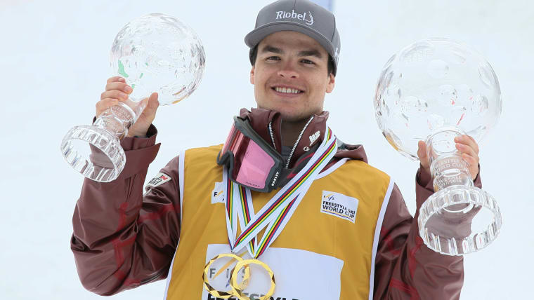 Last March Mikael Kingsbury celebrated his seventh World Cup title