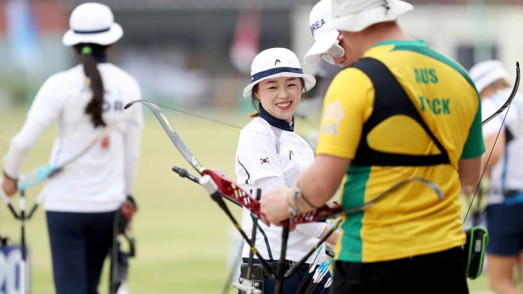 Chang Hye Jin smiles during a practice session in the READY STEADY TOKYO - Archery event