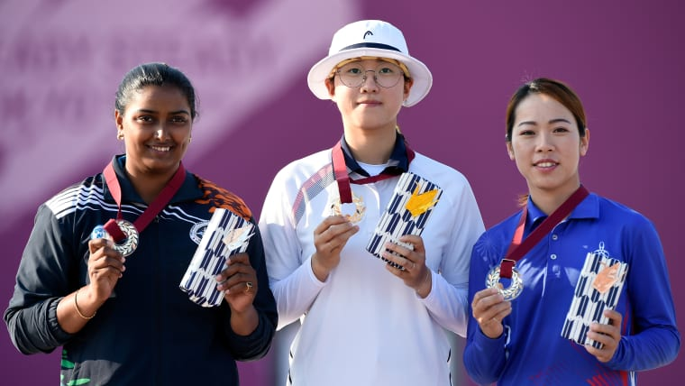 Deepika Kumari, San An and Ya-Ting Tan pose during the medal ceremony of the Ready Steady Tokyo - Archery, Tokyo 2020 Olympic Games test event.