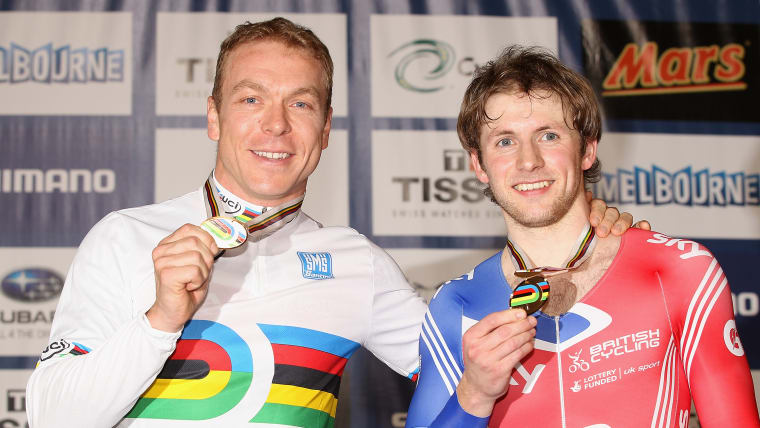 Chris Hoy and Jason Kenny during day five of the 2012 UCI Track Cycling World Championships