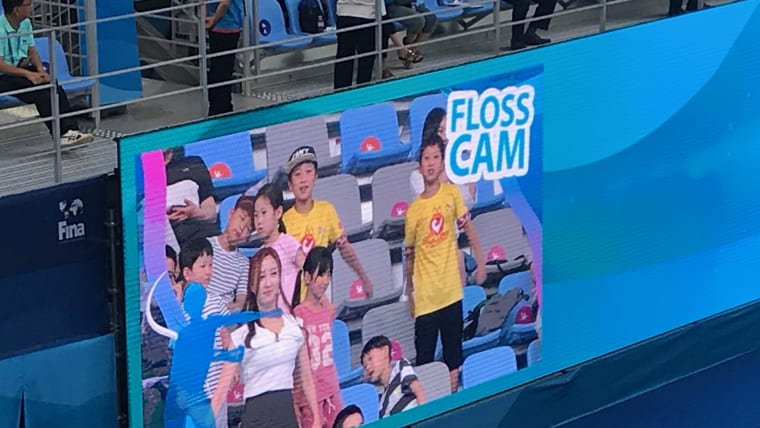 Floss Cam was in action at the water polo