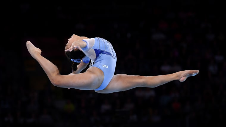 Sunisa Lee of USA performs on Floor during the FIG Artistic Gymnastics World Championships (Photo by Laurence Griffiths/Getty Images)