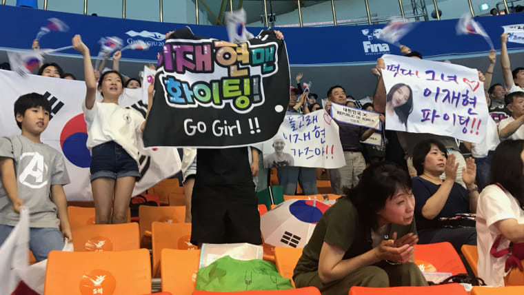 Korean fans go wild at the artistic swimming