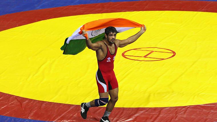 Sushil Kumar celebrates his 2010 Commonwealth Games gold medal in Delhi