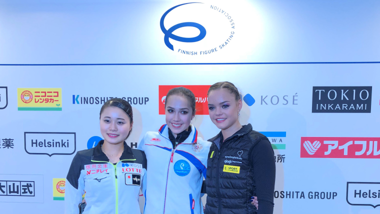 The top three finishers of the Ladies short program at the Grand Prix of Helsinki 2018