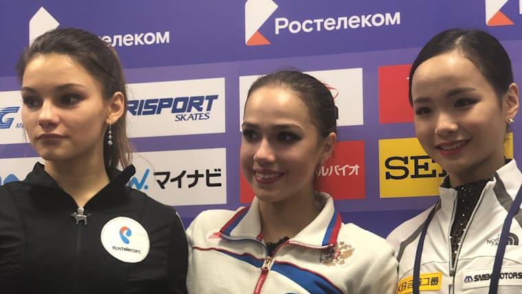 Rostelecom Cup podium [L-R]: Second-placed Sofia Samodurova, Alina Zagitova, Third-Placed Lim Eunsoo