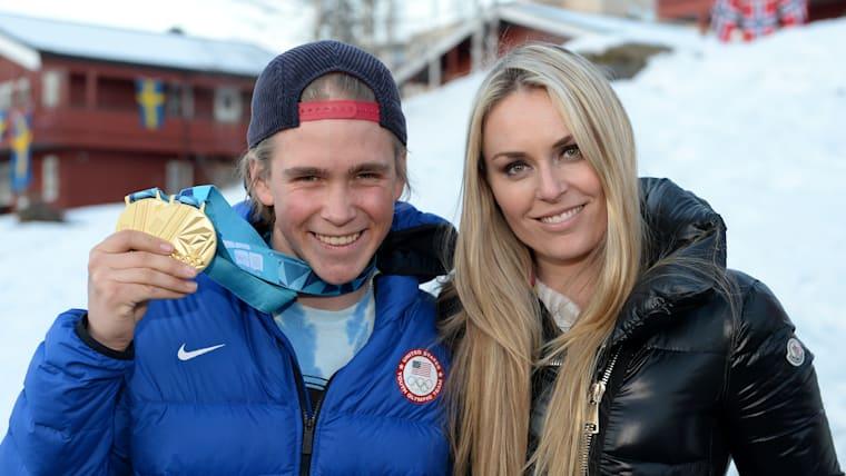 River Radamus with Lindsey Vonn at Lillehammer 2016