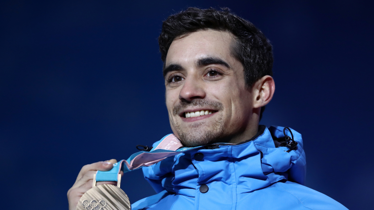 Bronze medalist Javier Fernandez celebrates during the Men's Figure Skating medal ceremony at the PyeongChang 2018 Winter Olympic Games