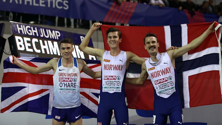 2019 European Indoors 3000m (L-R): runner-up Chris O'Hare, winner Jakob Ingebrigtsen, third-placed Henrik Ingebrigtsen