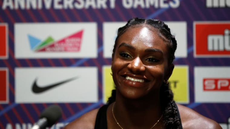 Dina Asher-Smith at London Anniversary Games news conference