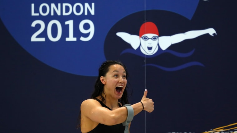 Alice Tai of Great Britain celebrates after the Women's 400m Freestyle S8 heats on Day Four of the London 2019 World Para-swimming Allianz Championships at Aquatics Centre on September 12, 2019 in London, England. (Photo by Catherine Ivill/Getty Images)