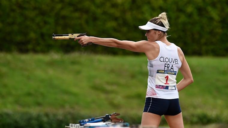 UIPM Pentathlon World Cup runner-up Elodie Clouvel shooting during the Laser Race