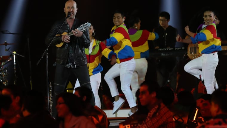 Pan American Games - Lima 2019 - Closing Ceremony - Estadio Nacional, Lima, Peru - August 11, 2019 - Singer Gian Marco performs during the XVIII Pan American Games closing ceremony. REUTERS/Henry Romero