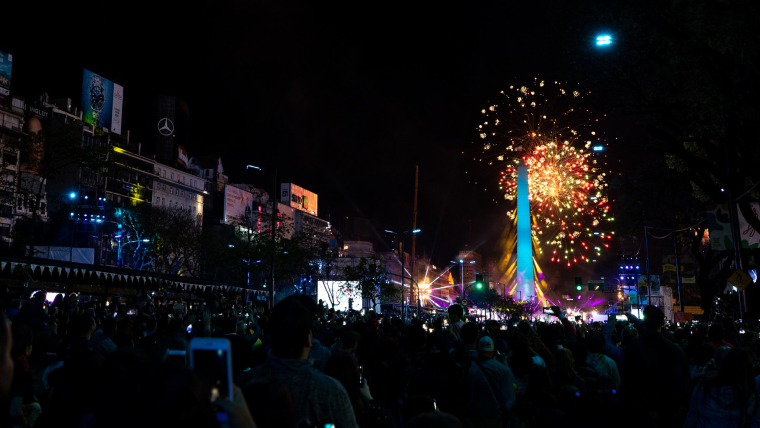 View of the Obelisk of Buenos Aires with fireworks at the start of the Opening Ceremony of The Youth Olympic Games, Buenos Aires, Argentina.
