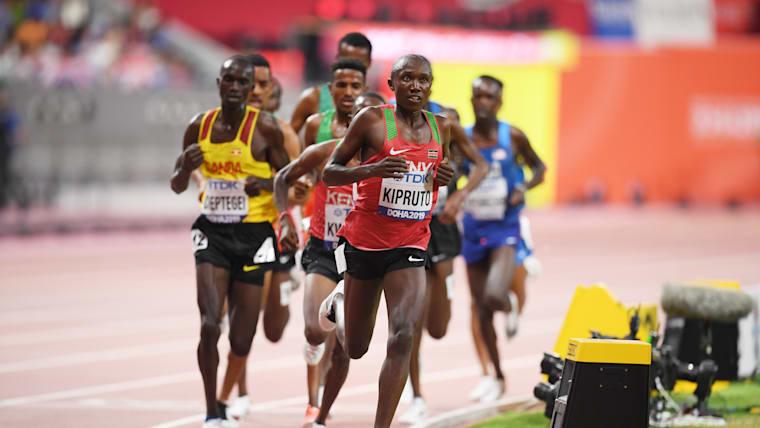 Frontrunner: Rhonex Kipruto of Kenya leads the Men's 10,000m final. (Photo by Matthias Hangst/Getty Images)