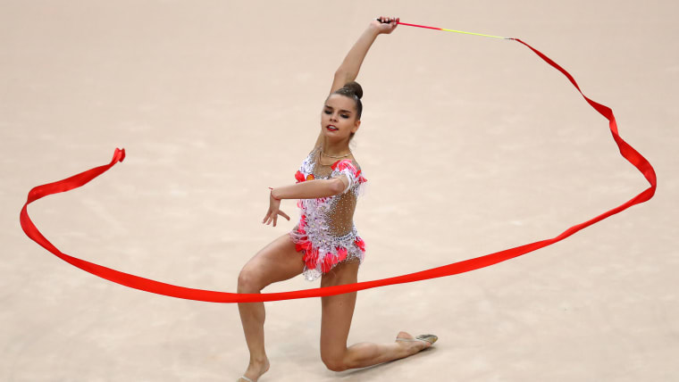 Dina Averina on her way to the ribbon title at June's European Games in Minsk, Belarus