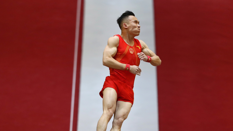 China's Xiao Ruotong competes in vault qualification at the World Artistic Gymnastics Championships in Doha