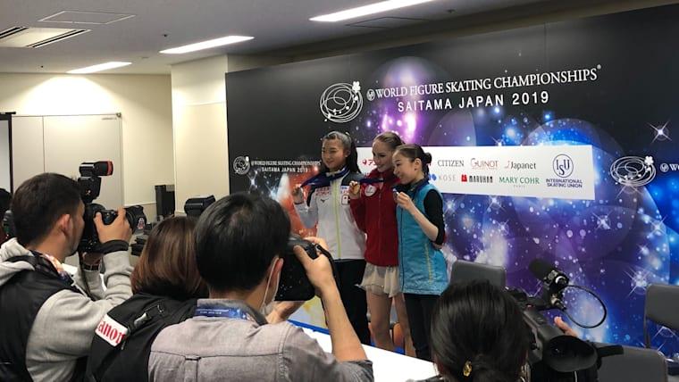 2019 ISU Figure Skating World Championships Ladies' short program small medallists