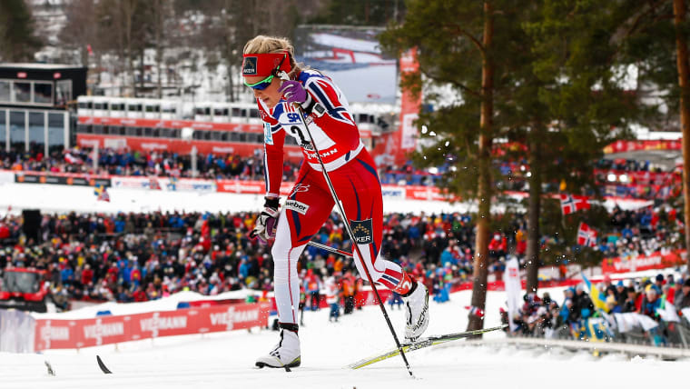 Therese Johaug competing at the 2015 FIS Nordic World Ski Championhips in Falun, Sweden