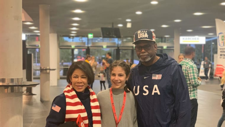 Simone Biles parents arrive at the 2019 World Championships (Photo: Olympic Channel)