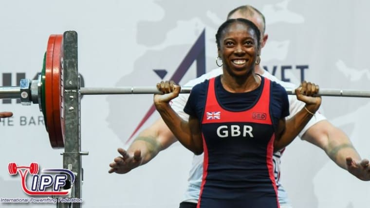 Joy Nnamani squats 152.5kg, a new European record, on her way to her second consecutive -52kg World Classic title