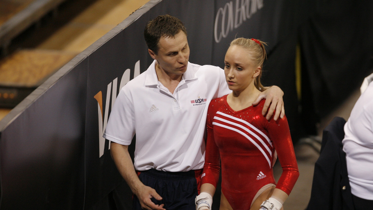 Nastia Liukin with her father and coach Valeri at the Pacific Rim Gymnastics Championships in March 2008 in San Jose, California