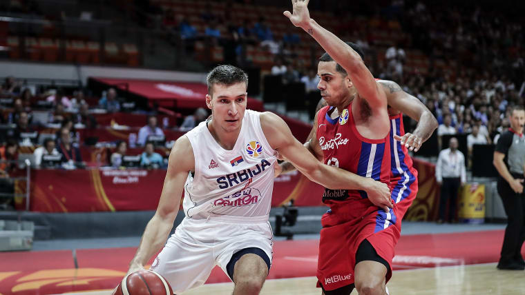 Bogdan Bogdanovic of Serbia drives against Puerto Rico during the 2019 FIBA Basketball World Cup in Wuhan, China.