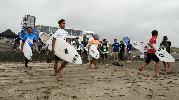 Athletes prepare to compete at the Ready Steady Tokyo surfing event