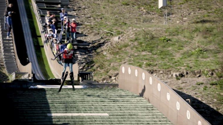 Zhai Yujia takes off on ski jump