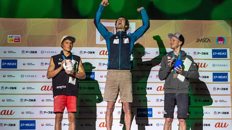Men's Lead Podium (L-R): runner-up Alexander Megos, winner Adam Ondra, third-placed Jacob Schubert (photo courtesy IFSC/Eddie Fowke)