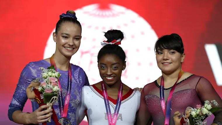 Women's vault podium (L-R): runner-up Shallon Olsen, Simone Biles, bronze medallist Alexa Moreno