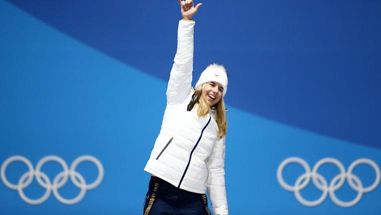 Ledecka on the podium