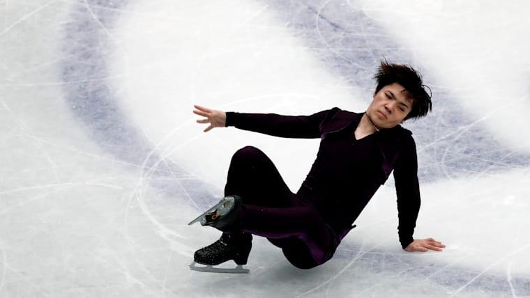 Japan's Shoma Uno falls during the Men's Short Program.