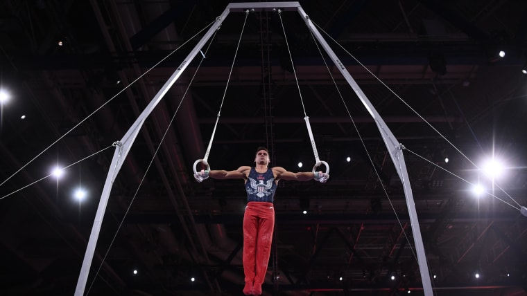 Sam Mikulak performs on the steady rings during qualification at the 2019 World Artistic Gymnastics Championships in Stuttgart