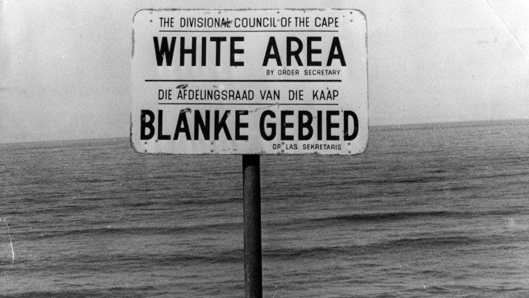 Sign showing area for 'Whites Only' bathing
