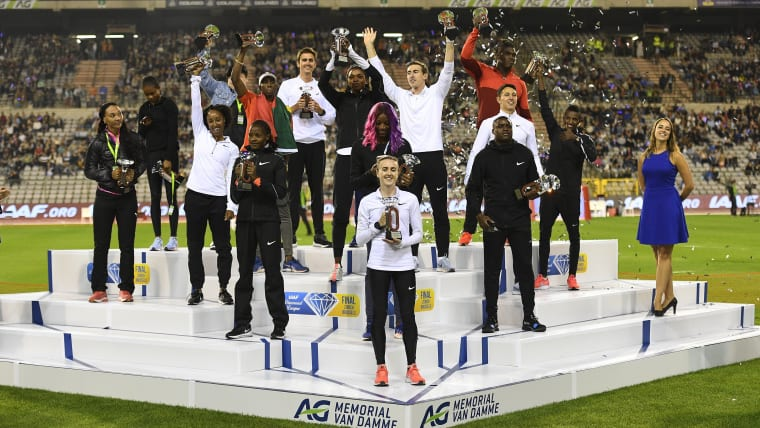 Winners' Podium from the 2018 Diamond League final in Brussels, Belgium