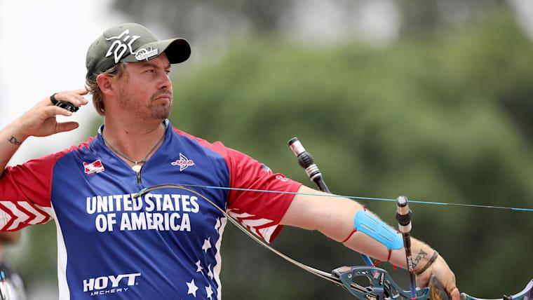 US Archer Brady Ellison looks ahead after a shot