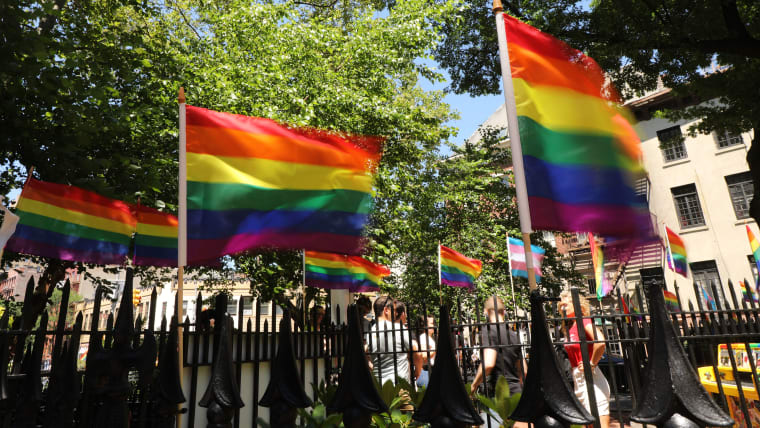 Pride flags outside New York City's Stonewall Inn, scene of the 1969 riots which heralded the LGBT+ rights movement