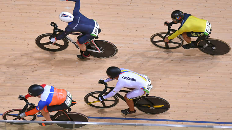 東京五輪で使用されるコースのバンク傾斜は最大45度に達する。(写真はリオ五輪のコースのもの)