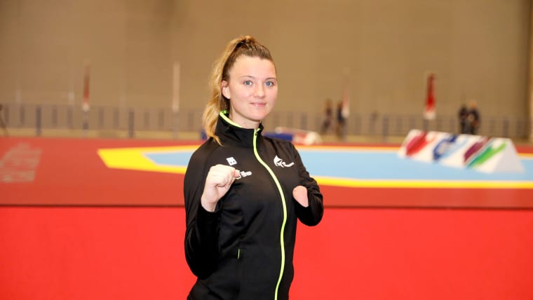 Amy Truesdale at the Makahuri Messe Hall, future home of Para taekwondo at next year's Paralympic Games
