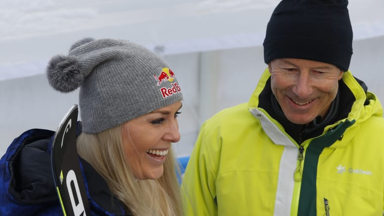 Lindsey Vonn and Ingemar Stenmark after the World Championship downhill at Are