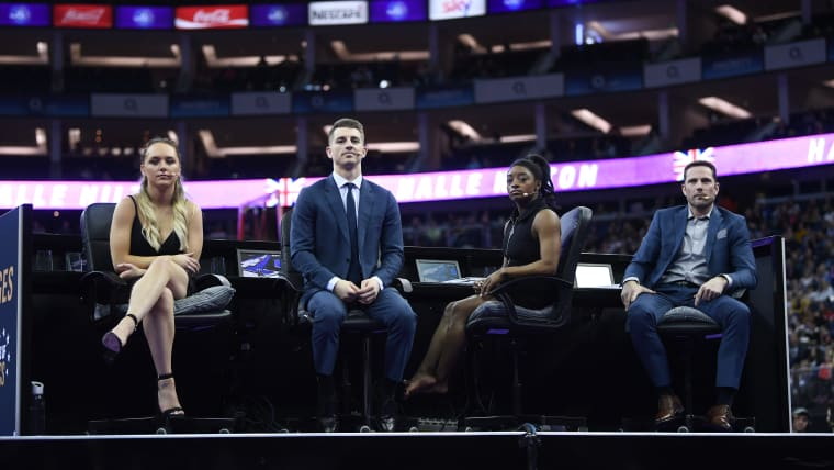 The Judges: Amy Tinkler, Max Whitlock, Simone Biles and Laurent Landi watch on. (Photo by Laurence Griffiths/Getty Images)