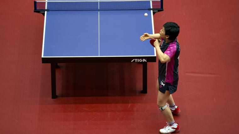 Ni Xia Lian into the semi-finals in Minsk. This photo is from the ITTF-European Olympic Qualification Tournament on April 15, 2016 in Halmstad, Sweden. (Photo by Lars Dareberg/Ombrello/Getty Images)