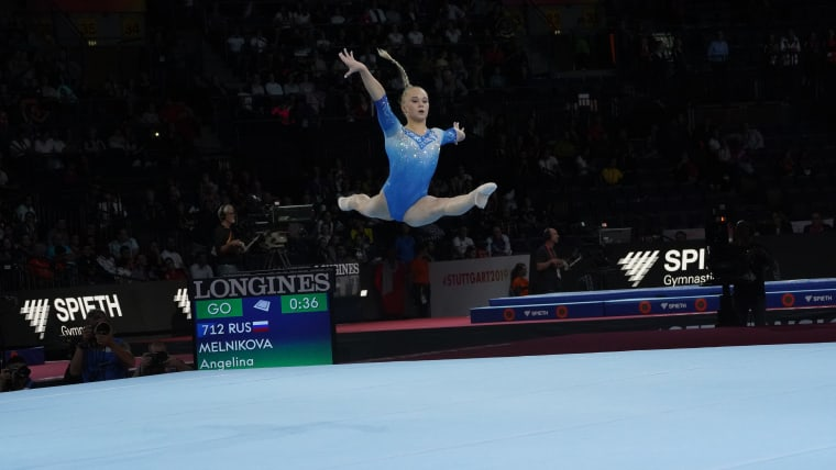 Angelina Melnikova performs on floor at the 2019 World Championships (Photo: Olympic Channel)