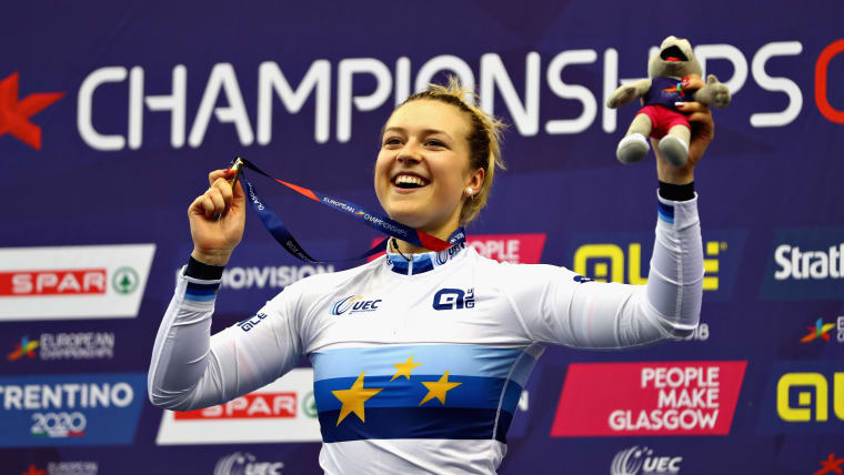 Mathilde Gros celebrates her gold in the Women's Keirin event during European Championships in Glasgow